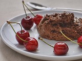 Chocolate and olive oil mousse with kirsch soaked cherries