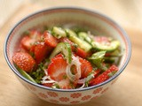 Cucumber, shallot and strawberry salad with mint and passionfruit dressing