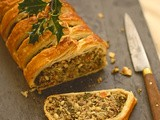 Kale, quinoa and nut roast en croute