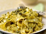 Parpadelle with pea, pistachio and mint pesto