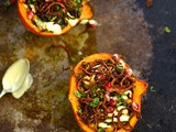 Persian stuffed squash with tahini sauce and cinnamon onions