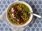 Persian-style bean and noodle soup