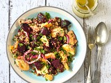 Roast beetroot, halloumi and freekeh salad