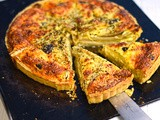 Roast chicory and olive tart