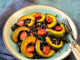 Roast squash, quinoa and black chickpea salad