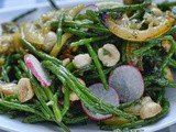 Samphire, hazelnut and roast lemon salad