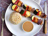 Smoked tofu kebabs with satay sauce