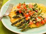 Socca pancakes with char-grilled asparagus, tomato and herbs