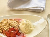 Strawberry crumble with elderflower ice cream