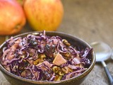 Winter salad: red cabbage, apple and cranberry