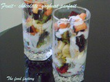 Fruit, chocolate, yoghurt parfait