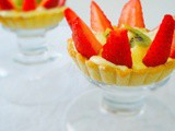 Fruit tart | Delicious melt in the mouth tart| Filled with creamy custard | Garnished with strawberries and kiwi
