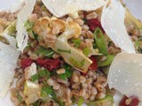 Farro salad with artichokes, cauliflower, and sun-dried tomatoes