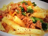 Rigatoni with spicy sausage, sweet mini peppers, & broccoli