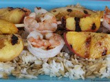 Grilled Peaches and Shrimp Shish Kabobs / #SundaySupper