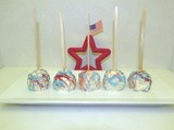 Red, White and Blue Rice Krispie Cake Batter Pops