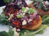 Loafin' Around on the Easy Bus | bbq Meatloaf Stuffed Potato Skins with Smokey Bleu