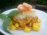Valentine's Day Entree #2 – Chilean Sea Bass with Mango Curry & Spicy Thai Noodles