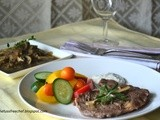 Pan Seared Rib Eye Steak with Balsamic Mushroom Sauce