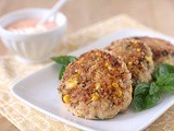 Chicken and Corn Patties with a Roasted Red Pepper Mayonnaise