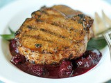 Grilled Pork Chops with a Blackberry-Wine Barbecue Sauce