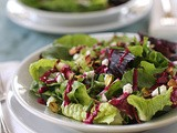Mixed Green Salad with Goat Cheese, Pistachios, and Beet Vinaigrette