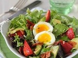 Tossed Greens with Strawberries, Avocado, Bacon, and Soft-Boiled Eggs