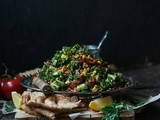 Enduring Winter [Charred Corn and Carrot Green Tabbouleh]