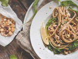 Lemon-Yogurt Linguine with Arugula, Sugar Peas and Roasted