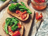 MacGyvering Lunch [Anchovy Butter Toast with Spicy Tomato Jam & Broccoli Rabe]