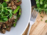 Uninformed Schmuck [Bacon Fried Wild Rice with Asparagus & Pea Shoots]
