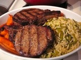 French Cut Pork Chops, Orzo with Peas and Cheese, Roast Carrots, Cucumber Slaw, Strawberry Cake, and Sliced Fresh Peaches and Blueberries = Birthday Dinner Menu