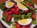 Green Salad with Asparagus, Eggs, and Tomatoes for Two
