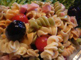Ham and Pasta Salad with Cherry Tomato and Black Olives