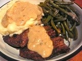 Haricot Vert (French Green Beans), Smothered Steak, & Mashed Potatoes