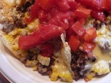 Nachos with Fresh Corn, Tomatoes, and Peppers