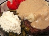 Pork Cutlets, Chive Potatoes & Pan Gravy, Fresh Green Beans, Cottage Cheese, & Sliced Tomatoes