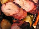 Pork Tenderloin Teriyaki with Fried Apples and Roasted Vegetables