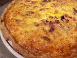 Savory Pie, with Ham, Mushrooms, Cheese, & Onions