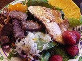 Tropical Steak & Chicken Salad, Teriyaki Marinade, & Orange-Celery Seed Dressing