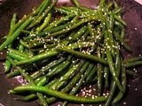 Warm Green Bean Salad with Honey Sesame Dressing and Toasted Sesame Seeds