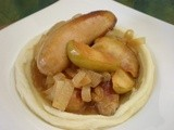 Beer Braised Pork Sausages with Apple and Onion