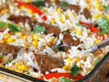 Baked Sausages and Rice with Peppers & Corn