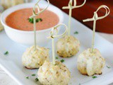 Cheese-Stuffed Chicken Meatballs & Roasted Red Pepper Sauce {Chopped At Home}