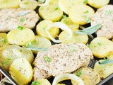 Sage Pork Chops, Potatoes & Onions Sheet Pan Supper