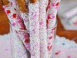 Valentines White Chocolate-Dipped Pretzel Rods