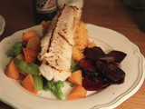 Pan seared white fish with crunchy beets, sweet potato mash and my mum's white sauce