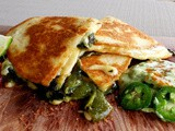 Chile relleno quesadillas with Avocado Crema