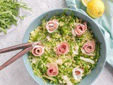 Barley Pea Pesto Salad with Grana Padano and Prosciutto di San Daniele