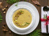Leek and Potato Soup with Toasted Hazelnut